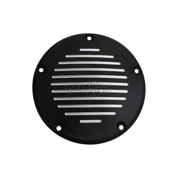 V-Twin Manufacturing Black Grooved 5-Hole Derby Cover - 42-1140