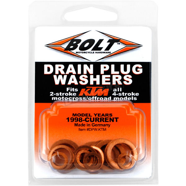Bolt Motorcycle Hardware Copper Drain Plug Washer Set - DPW.KTM