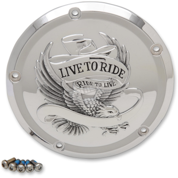 Drag Specialties Chrome Live to Ride Derby Cover  - 1107-0554