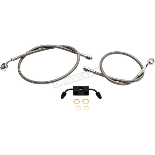 LA Choppers Replacement Stainless Steel Braided Brake Line Kit For Use w/Mini Ape Hangers w/ABS - LA-8211B08