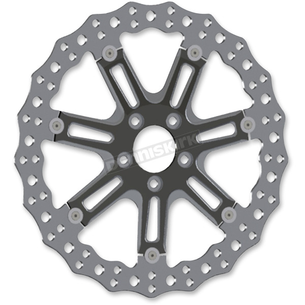 Arlen Ness Black Front 14 in. 7 Valve Two-Piece Floating Brake Rotor - 33-10301-203