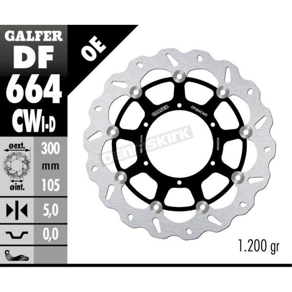 Front Aluminium Floating Wave Rotor w/Holes - DF664CWI