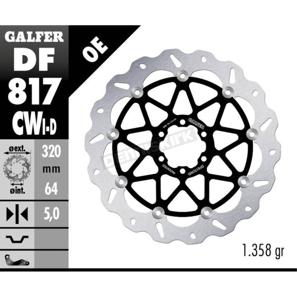 Front Aluminium Floating Wave Rotor w/Holes - DF817CWD