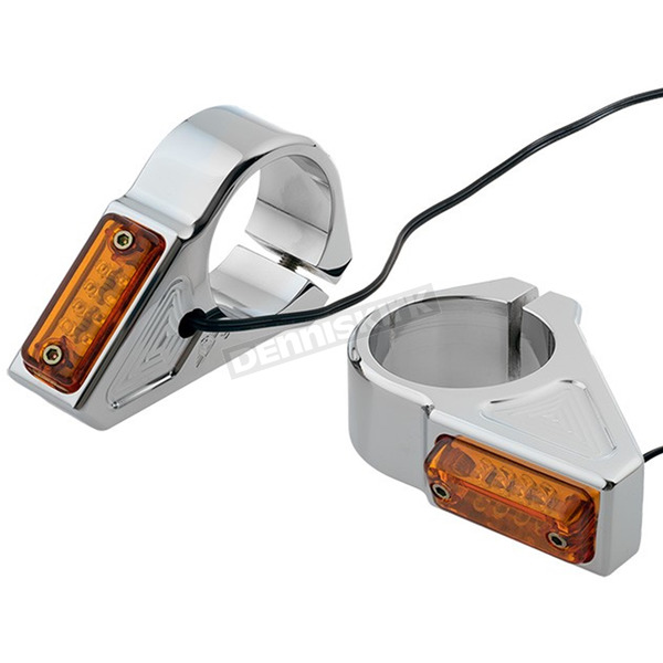 Joker Machine Chrome 41mm Fork Mount Rectangle LED Turn Signals - 05-301-3