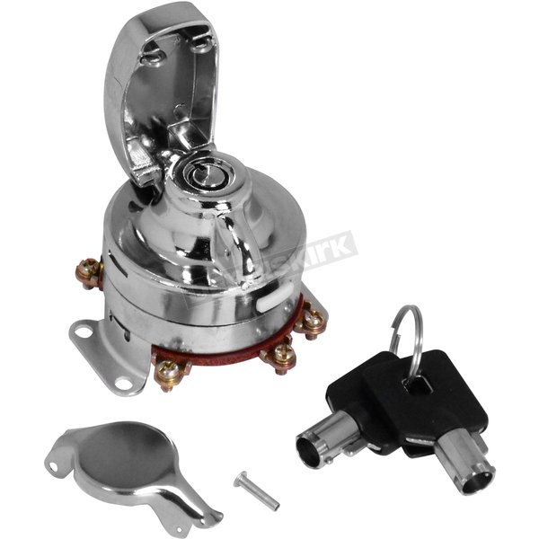 Chrome Ignition Switch for Fat Bob Dashes - 75105-73T