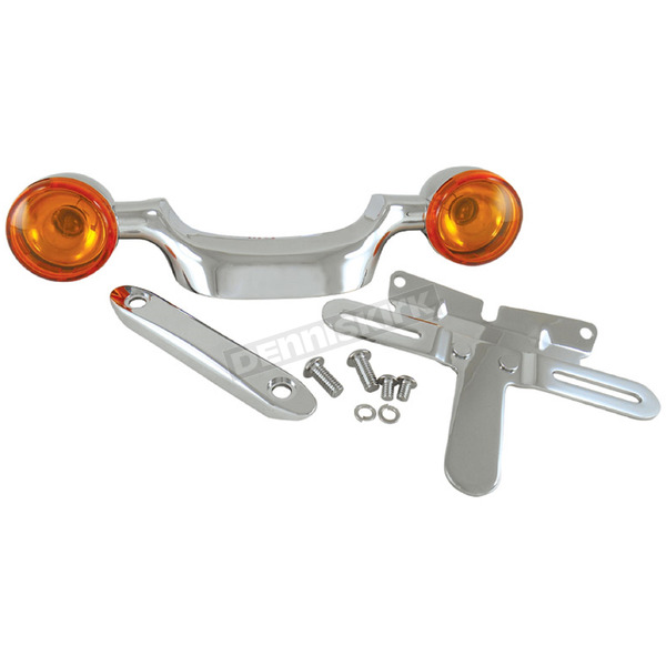 V-Factor Chrome Turn Signal Bar & License Plate Relocation Kit for Big Twin - 11447
