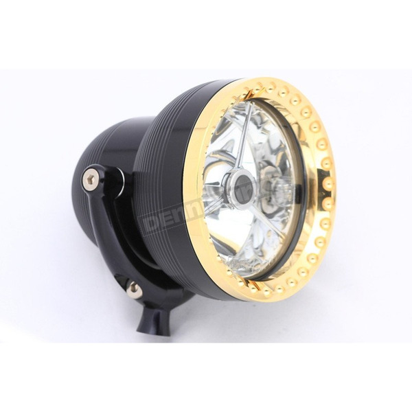 Ken's Factory 4 1/2 in. Machine Black Neo-Fusion Headlight w/Brass Ring - 11-001