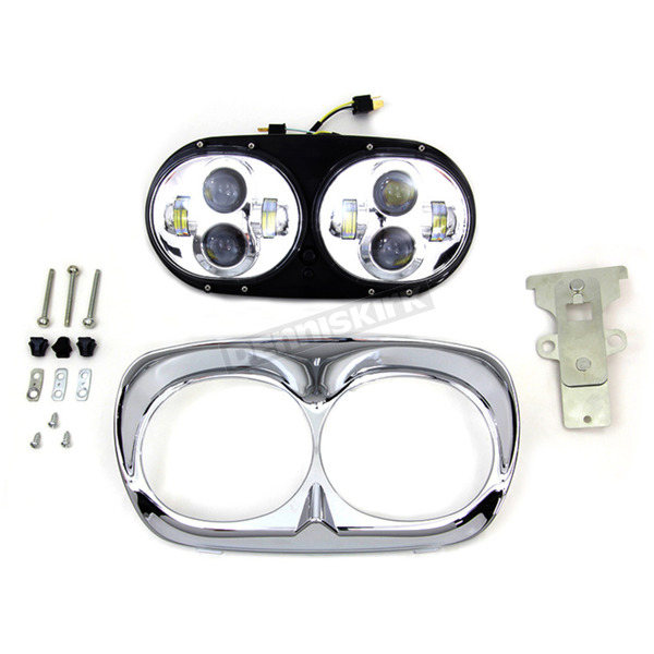 V-Twin Manufacturing Chrome Dual LED Headlamp Unit - 33-1100