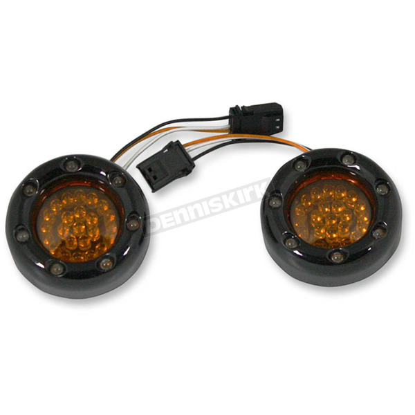 Custom Dynamics Black Bullet Ringz w/Amber LED Turn Signals  - BTRB-A-JAE-S