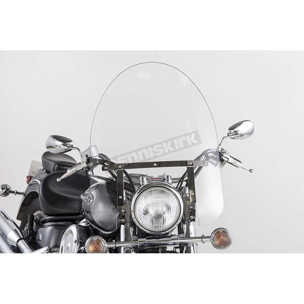 Slip Streamer 22 in. Clear SS-30 Classic Windshield w/Chrome Quick Release Hardware - SS-30-22CWQ