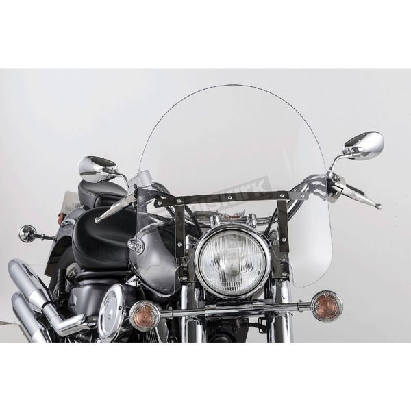 Slip Streamer 17 in. Clear SS-30 Classic Windshield w/Chrome Quick Release Hardware - SS-30-17CTQ
