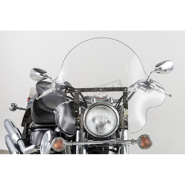 Slip Streamer 16 in. Clear SS-32 Falcon Windshield w/Chrome Quick Release Hardware - SS-32-16CQ