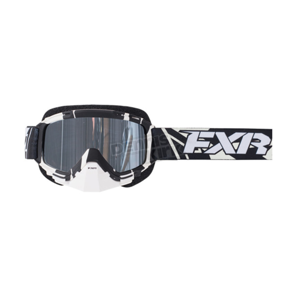 FXR Racing Black/White Mission Recon Speed Goggle w/Smoke Lens with Platinum Silver Finish - 173101-1001-00