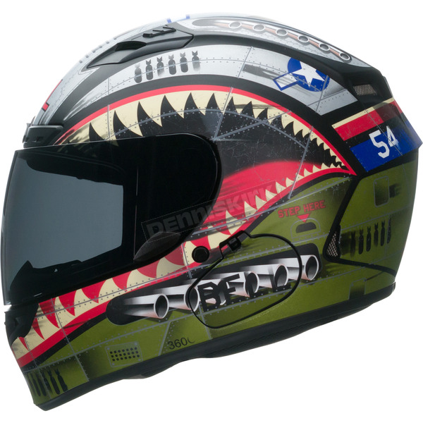 Bell Helmets Matte Green/Red/Blue Qualifier DLX Devil May Care Helmet - 7061907
