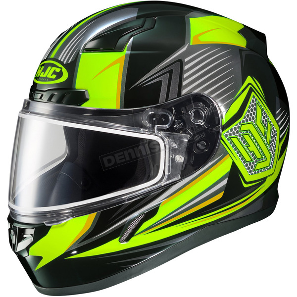 HJC Black/Hi-Viz Green/Gray CL-17SN MC-3H Striker Helmet w/Frameless Dual Lens Shield - 835-935