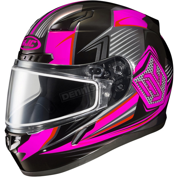 HJC Black/Neon Pink/Gray CL-17SN MC-8 Striker Helmet w/Frameless Dual Lens Shield - 835-985