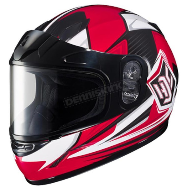 HJC Youth Red/Black/White CL-YSN MC-1 Striker Helmet with Framed Dual Lens Shield - 235-912