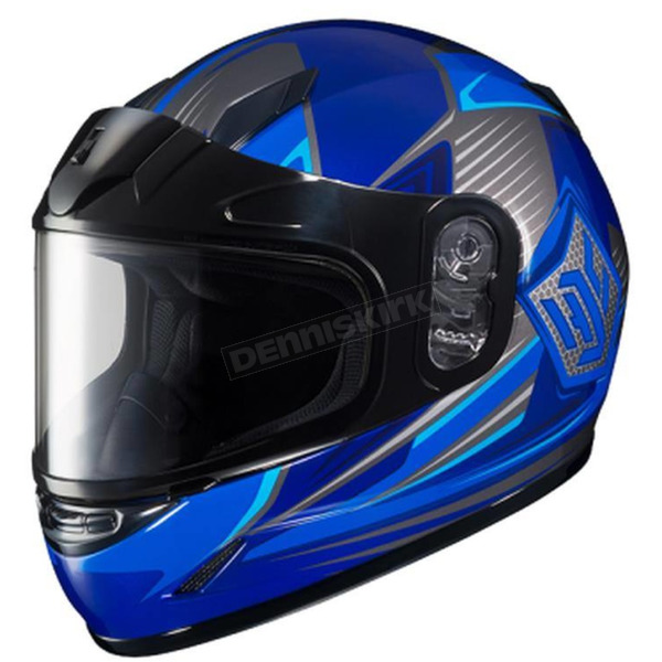 HJC Youth Blue/Gray/White CL-YSN MC-2 Striker Helmet with Framed Dual Lens Shield - 55-12026
