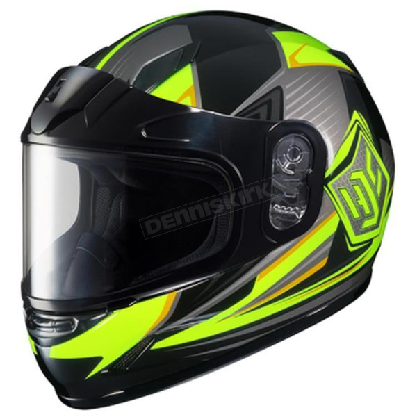 HJC Youth Hi-Viz Green/Black/Gray CL-YSN MC-3H Striker Helmet with Framed Dual Lens Shield - 55-12034