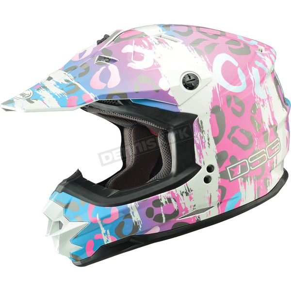 GMax Multi-colored Leopard Divas Snow Gear DSG GM76X Helmet - 462-9110M