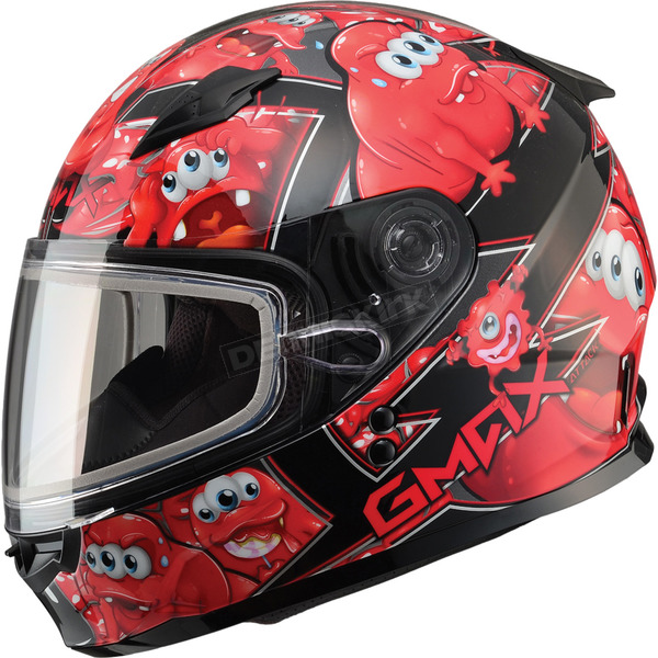 GMax Youth Black/Red GM49Y Attack Snowmobile Helmet - 72-5991YS