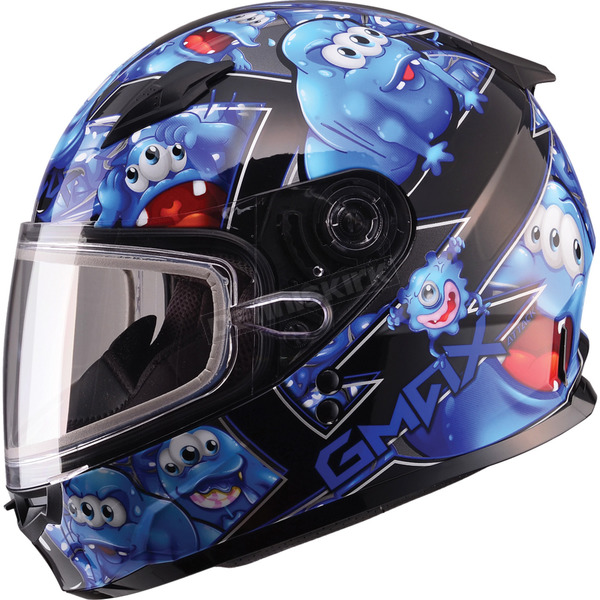 GMax Youth Black/Blue GM49Y Attack Snowmobile Helmet - 72-5992YS