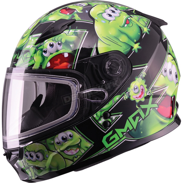 GMax Youth Black/Green GM49Y Attack Snowmobile Helmet - 72-5994YL