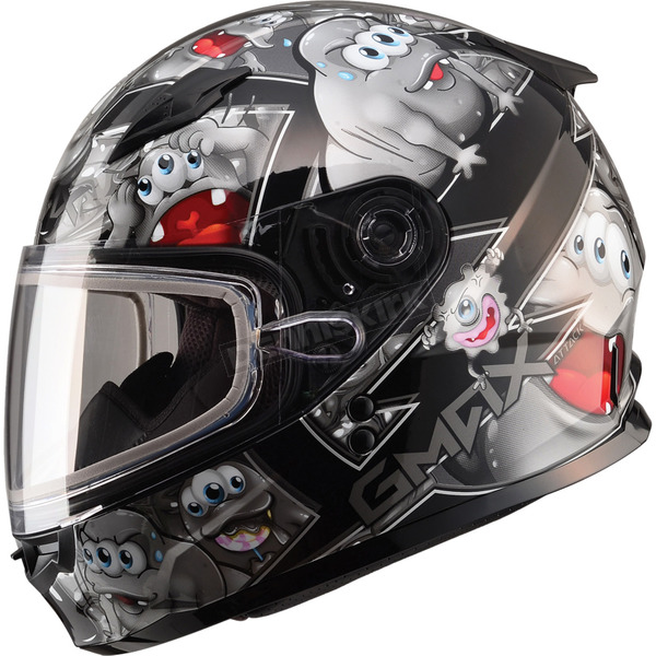 GMax Youth Black/Silver GM49Y Attack Snowmobile Helmet - 72-5996YL