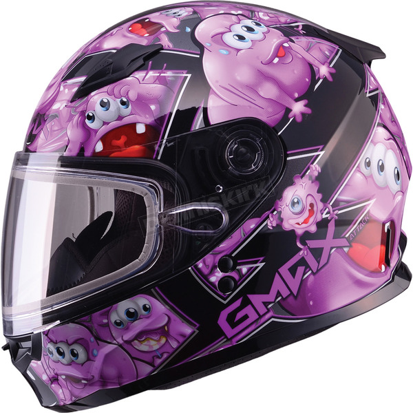 GMax Youth Black/Purple GM49Y Attack Snowmobile Helmet - 72-5997YS