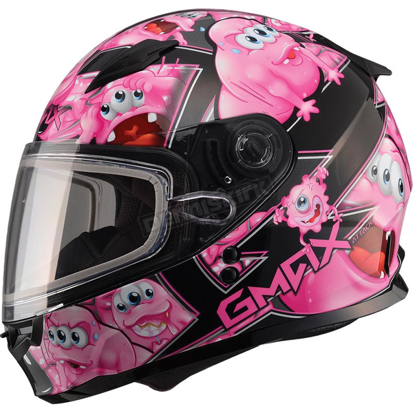 GMax Youth Black/Pink GM49Y Attack Snowmobile Helmet - 72-5999YM
