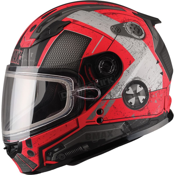 GMax Youth Flat Black/Red GM49Y Trooper Snowmobile Helmet  - 72-6011YM
