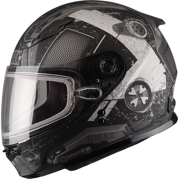 GMax Youth Flat Black/Silver GM49Y Trooper Snowmobile Helmet  - 72-6017YL