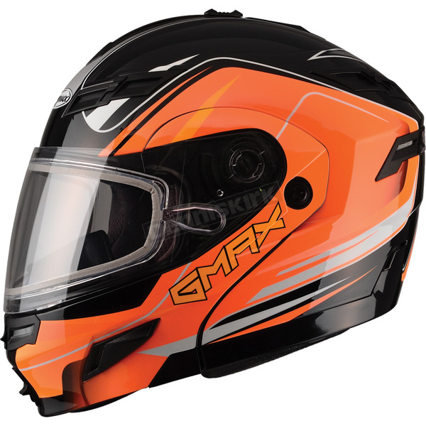 GMax Black/Hi-Viz Orange GM54S Terrain Modular Snowmobile Helmet - 72-6143S