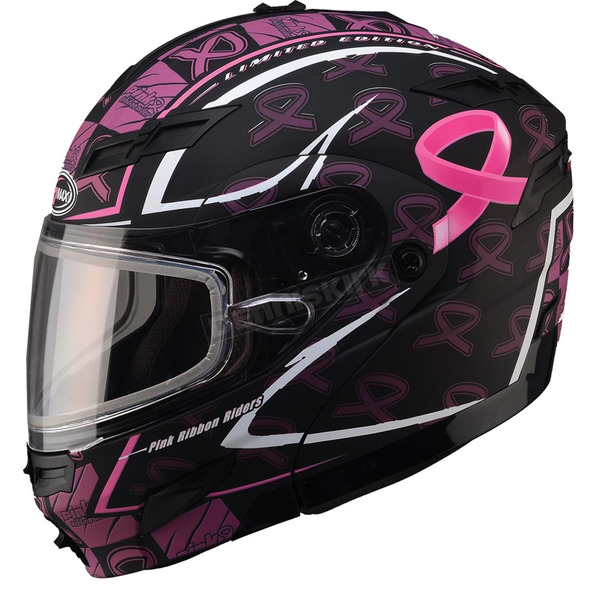 GMax Limited Edition Matte Black GM54S Pink Ribbon Modular Snowmobile Helmet - 72-6148X