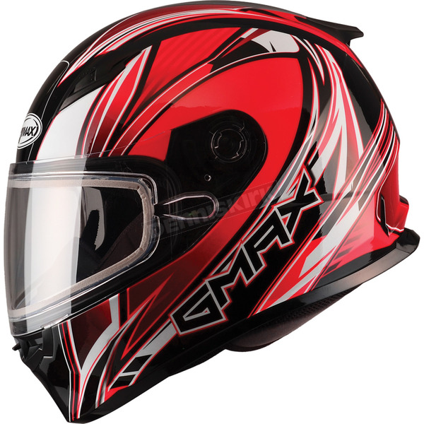 GMax Red/White/Black FF49 Sektor Snowmobile Helmet - 72-6301L