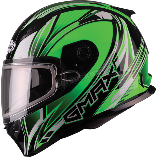 GMax Green/White/Black FF49 Sektor Snowmobile Helmet - 72-6304S