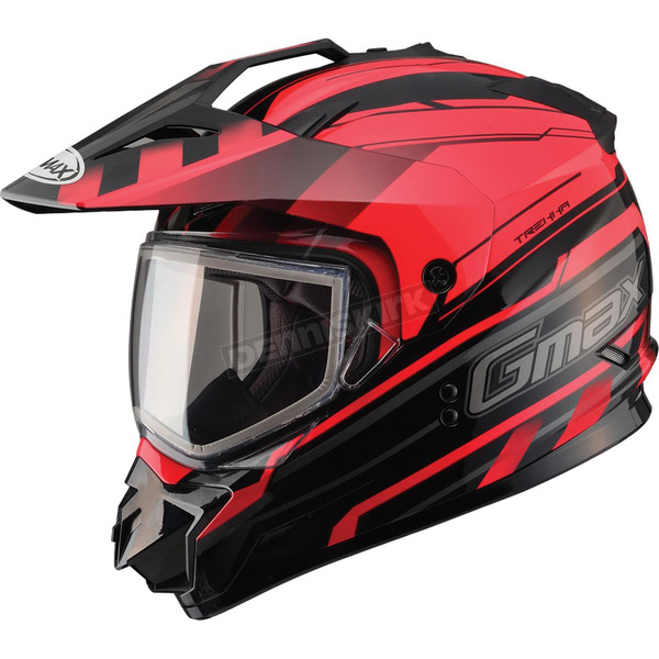 GMax Black/Red GM11S Trekka Snow Sport Snowmobile Helmet - 72-7131L