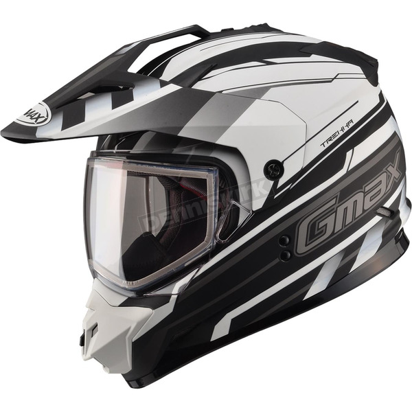 GMax Flat Black/White GM11S Trekka Snow Sport Snowmobile Helmet - 72-7136XS