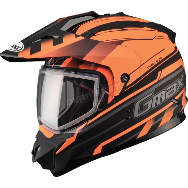 GMax Flat Black/Hi-Viz Orange GM11S Trekka Snow Sport Snowmobile Helmet - 72-71382X