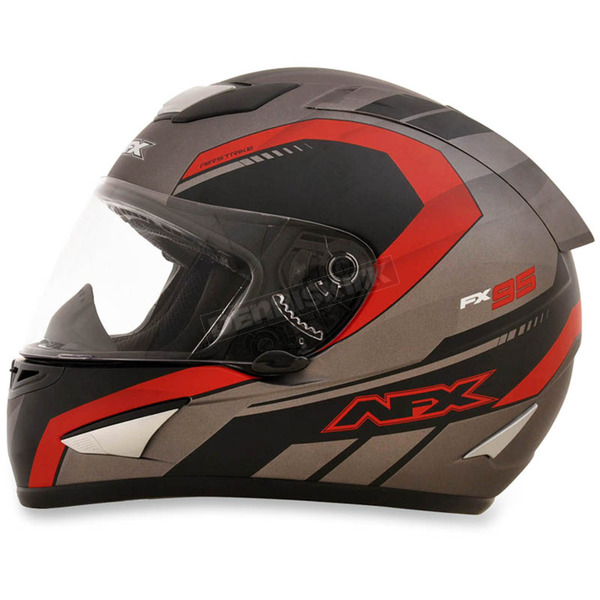 AFX Frost Gray/Red FX-95 Airstrike Helmet - 0101-8554