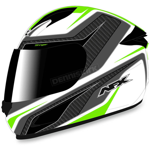 AFX White/Green FX-24 Stinger Helmet - 0101-8695