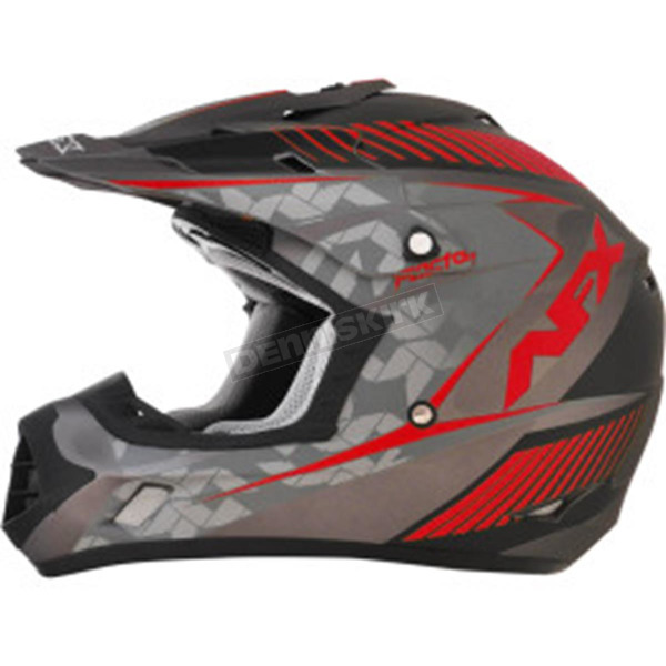 AFX Frost Gray/Red FX-17 Matte Factor Helmet - 0110-4467