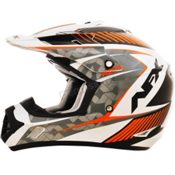 AFX Pearl White/Safety Orange FX-17 Factor Helmet - 0110-4525