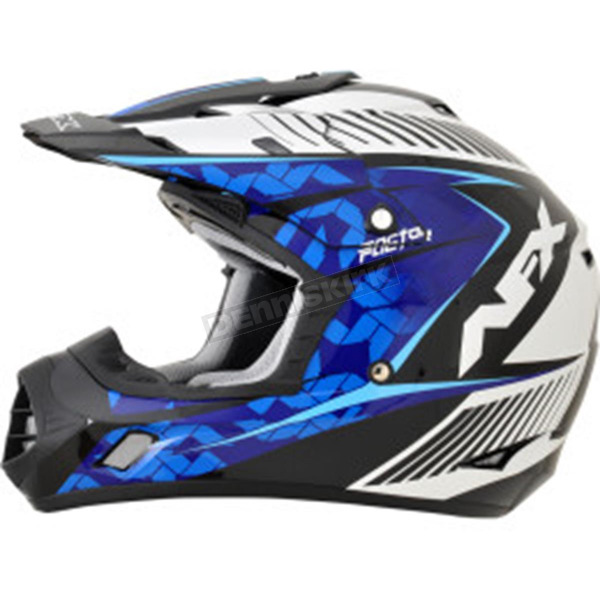 AFX Pearl White/Blue/Light Blue Complex FX-17 Factor Helmet - 0110-4544