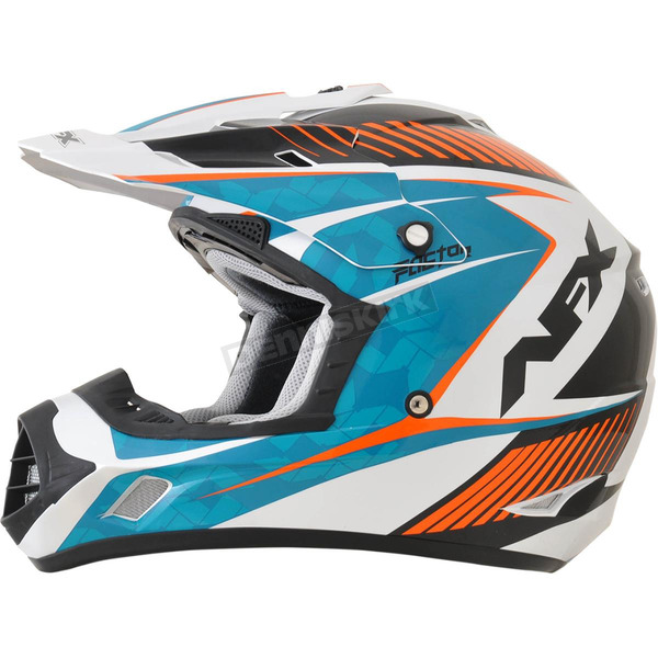 AFX Pearl White/Light Blue/Safety Orange Complex FX-17 Factor Helmet - 0110-4547