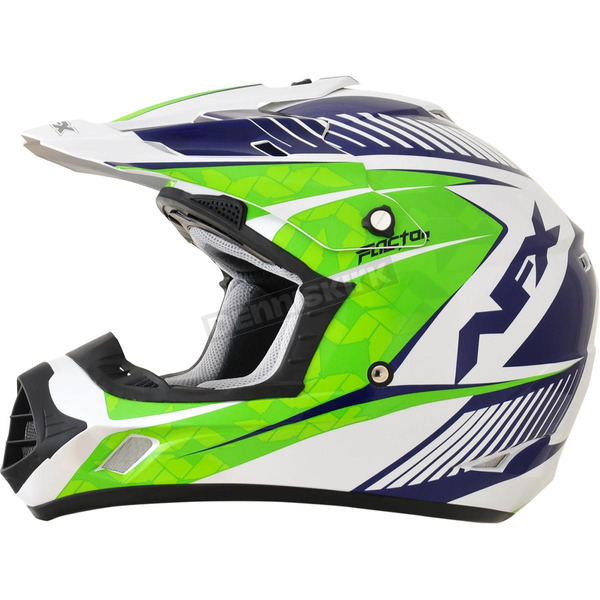AFX Pearl White/Green/Blue FX-17 Youth Complex Factor Helmet - 0111-1025