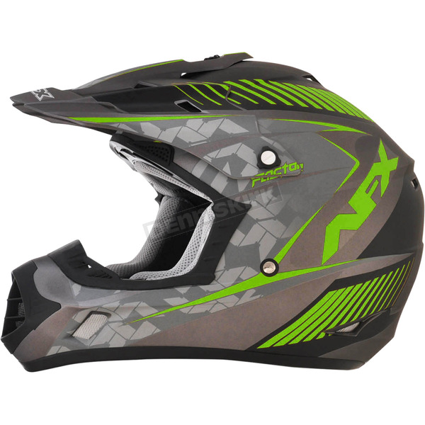 AFX Frost Gray/Green FX-17 Youth Factor Helmet - 0111-1007
