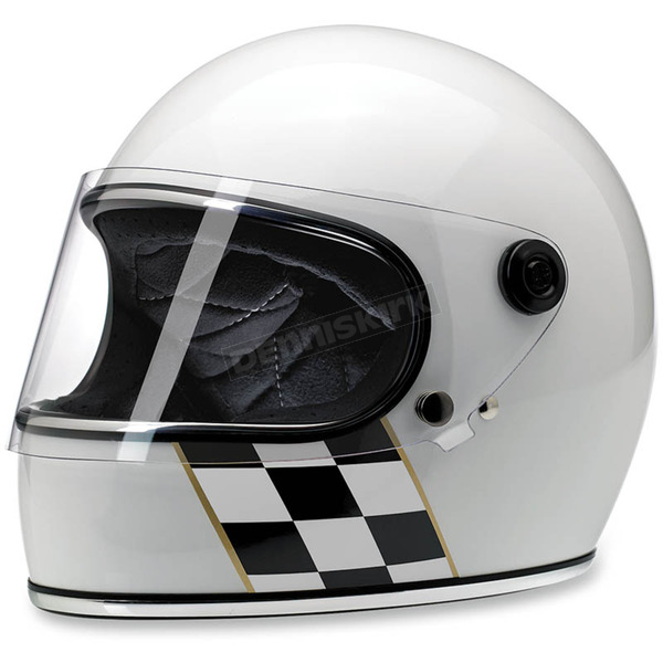 Biltwell Gloss White Checker Stripe Gringo S Helmet - GS-GWB-LECHK-XL