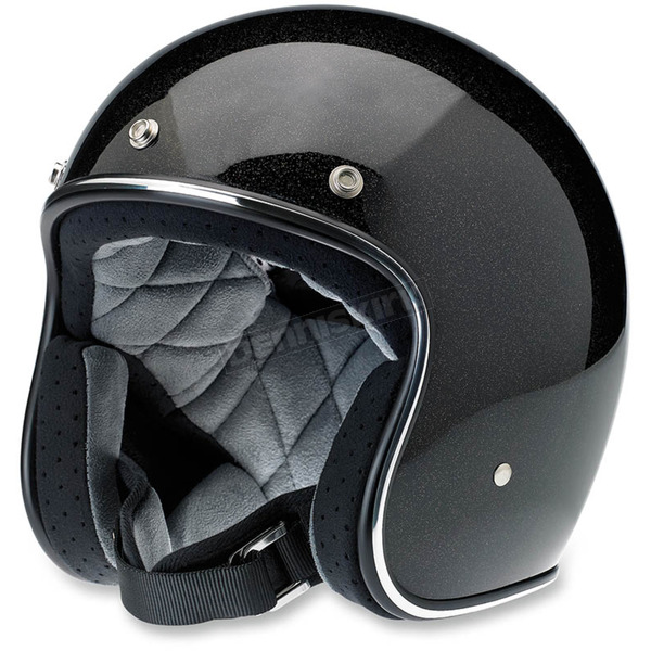 Biltwell Gloss Black/Gold Mini Flake Bonanza Helmet - BH-BGD-GLMIN-XL