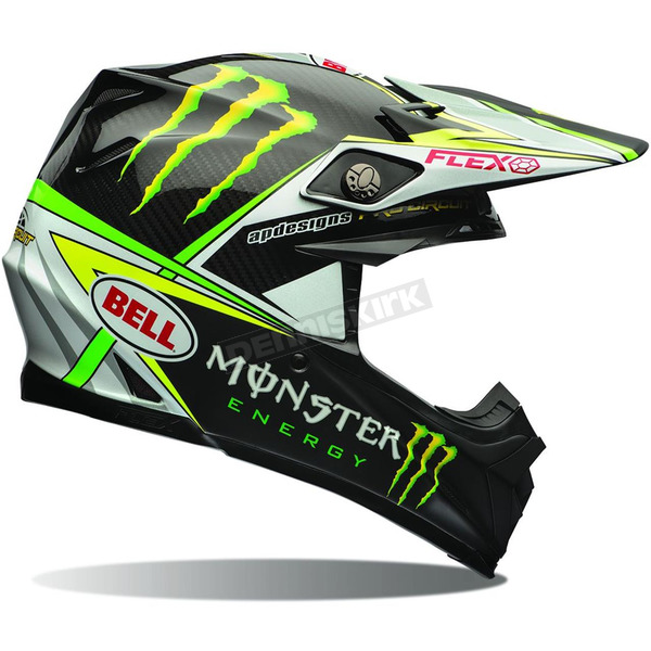 Bell Helmets Black/Green Moto-9 Carbon Flex Monster Energy Pro Circuit Replica Helmet - 7070661